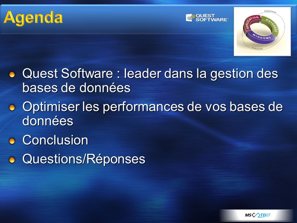Agenda Quest Software : leader dans la gestion des bases de données