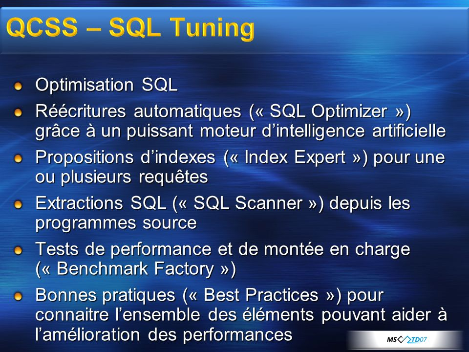 QCSS – SQL Tuning Optimisation SQL