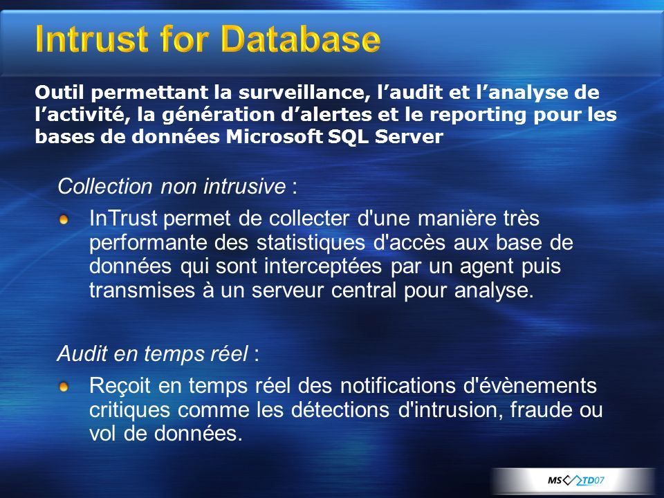 Intrust for Database Collection non intrusive :