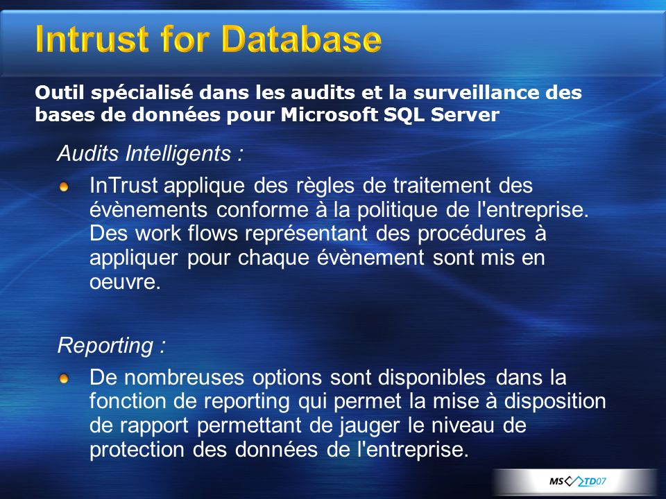 Intrust for Database Audits Intelligents :
