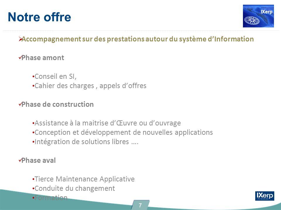 Notre offre IXerp. Accompagnement sur des prestations autour du système d'Information. Phase amont.