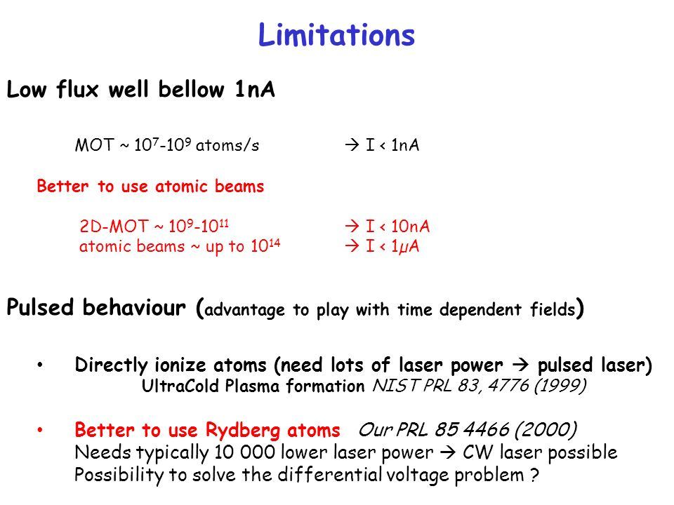Limitations Low flux well bellow 1nA