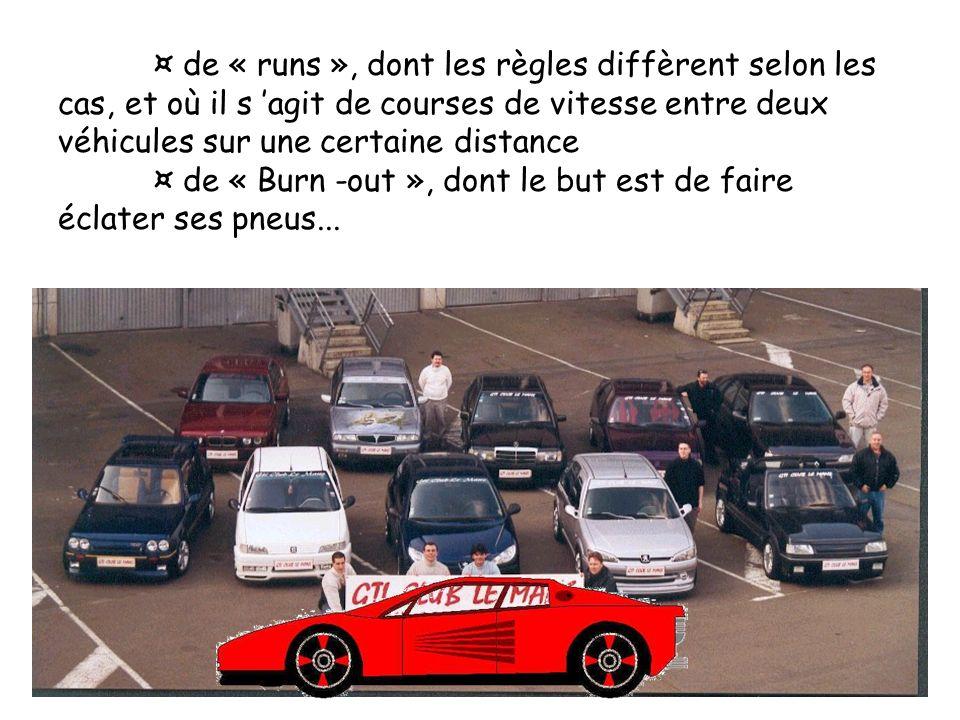 ¤ de « runs », dont les règles diffèrent selon les cas, et où il s 'agit de courses de vitesse entre deux véhicules sur une certaine distance