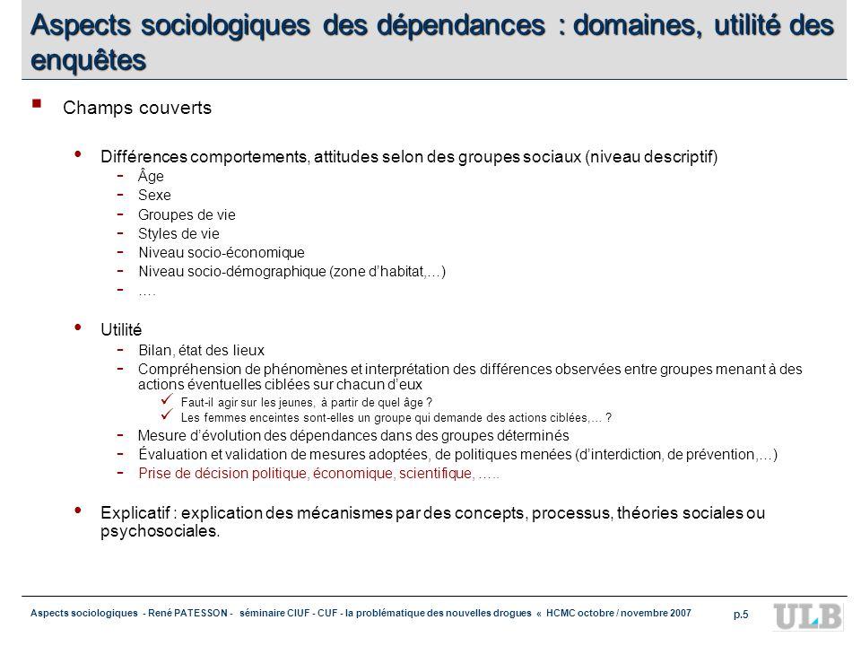 Aspects sociologiques des dépendances : domaines, utilité des enquêtes