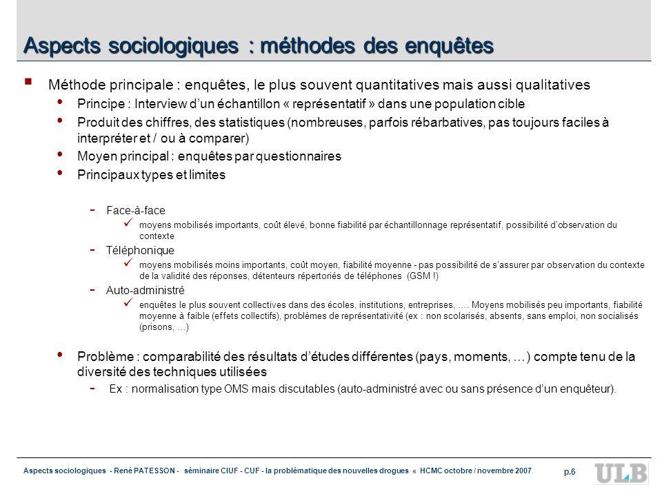 Aspects sociologiques : méthodes des enquêtes