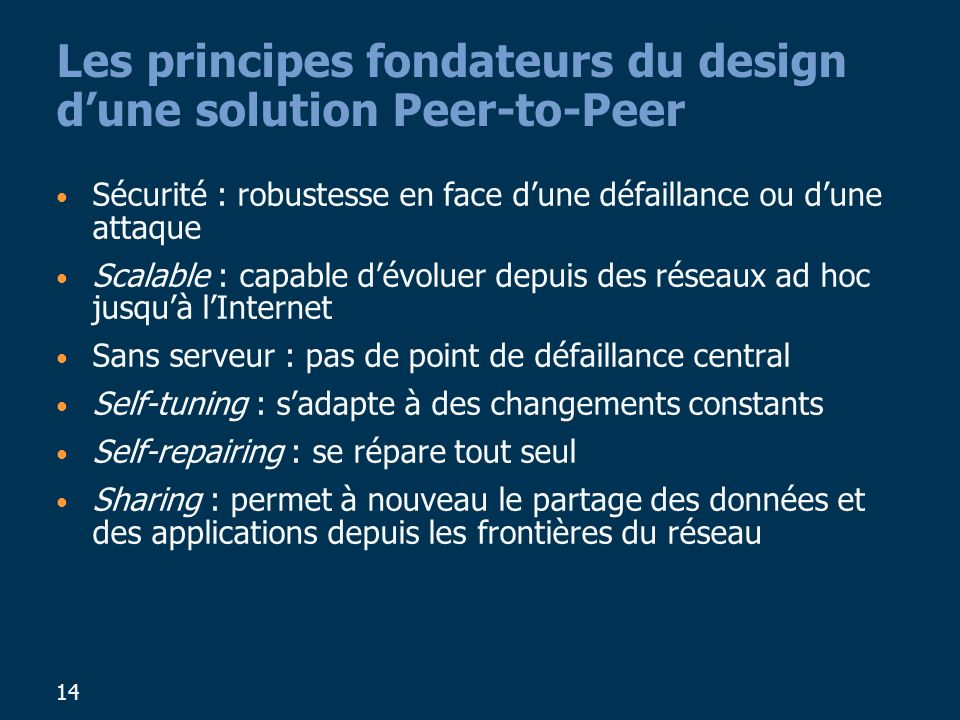 Les principes fondateurs du design d'une solution Peer-to-Peer