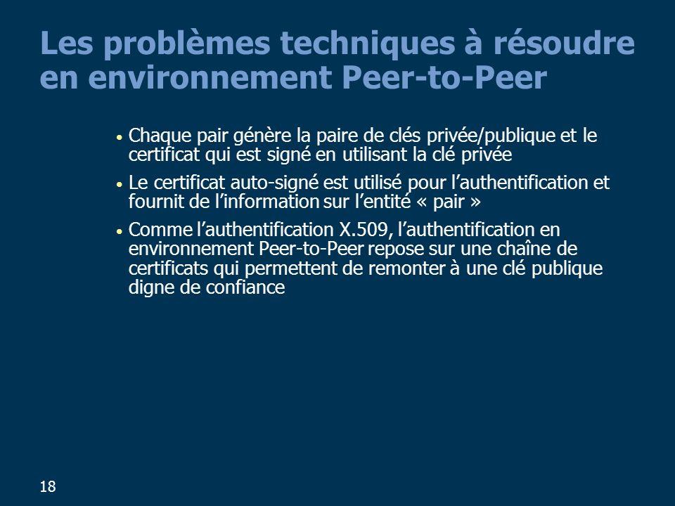Les problèmes techniques à résoudre en environnement Peer-to-Peer