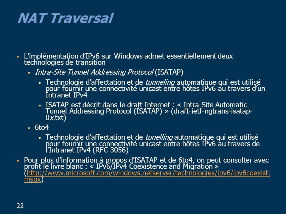 NAT Traversal L'implémentation d'IPv6 sur Windows admet essentiellement deux technologies de transition.