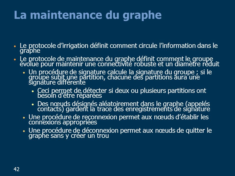 La maintenance du graphe