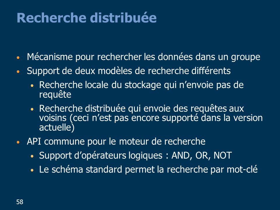 Recherche distribuée Mécanisme pour rechercher les données dans un groupe. Support de deux modèles de recherche différents.
