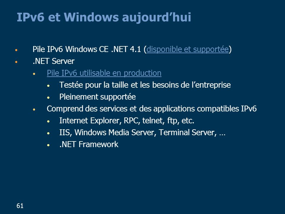 IPv6 et Windows aujourd'hui