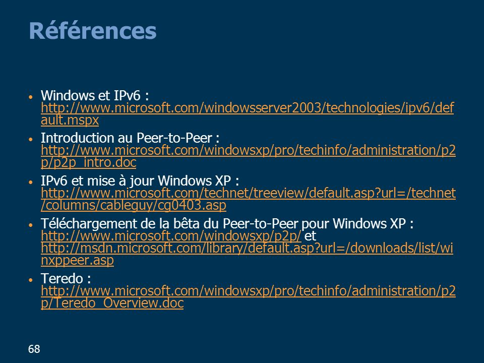 Références Windows et IPv6 : http://www.microsoft.com/windowsserver2003/technologies/ipv6/default.mspx.