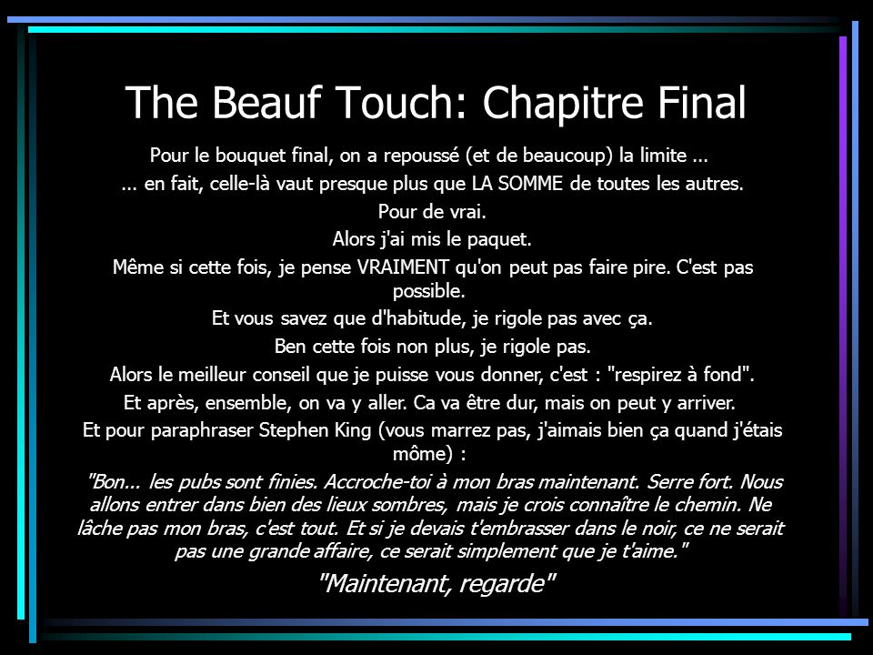 The Beauf Touch: Chapitre Final
