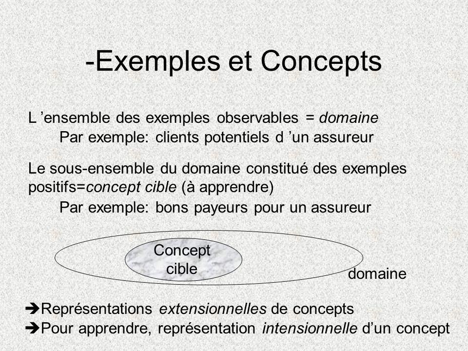 -Exemples et Concepts L 'ensemble des exemples observables = domaine