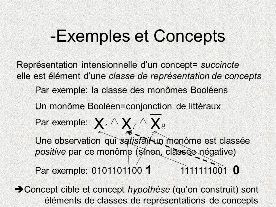 -Exemples et Concepts Représentation intensionnelle d'un concept= succincte. elle est élément d'une classe de représentation de concepts.