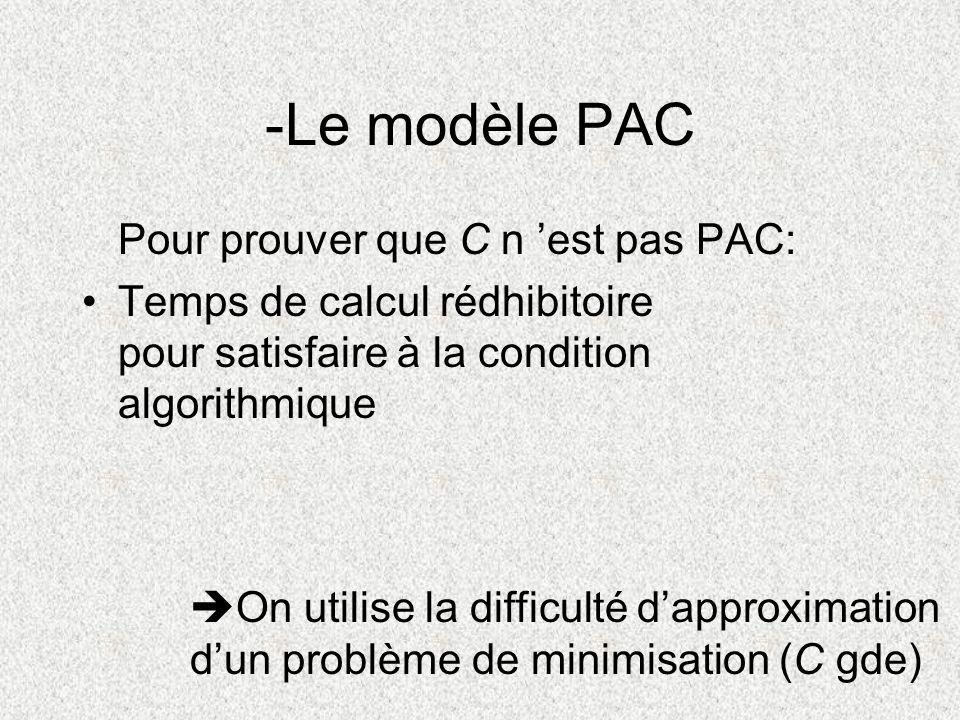 -Le modèle PAC Pour prouver que C n 'est pas PAC: