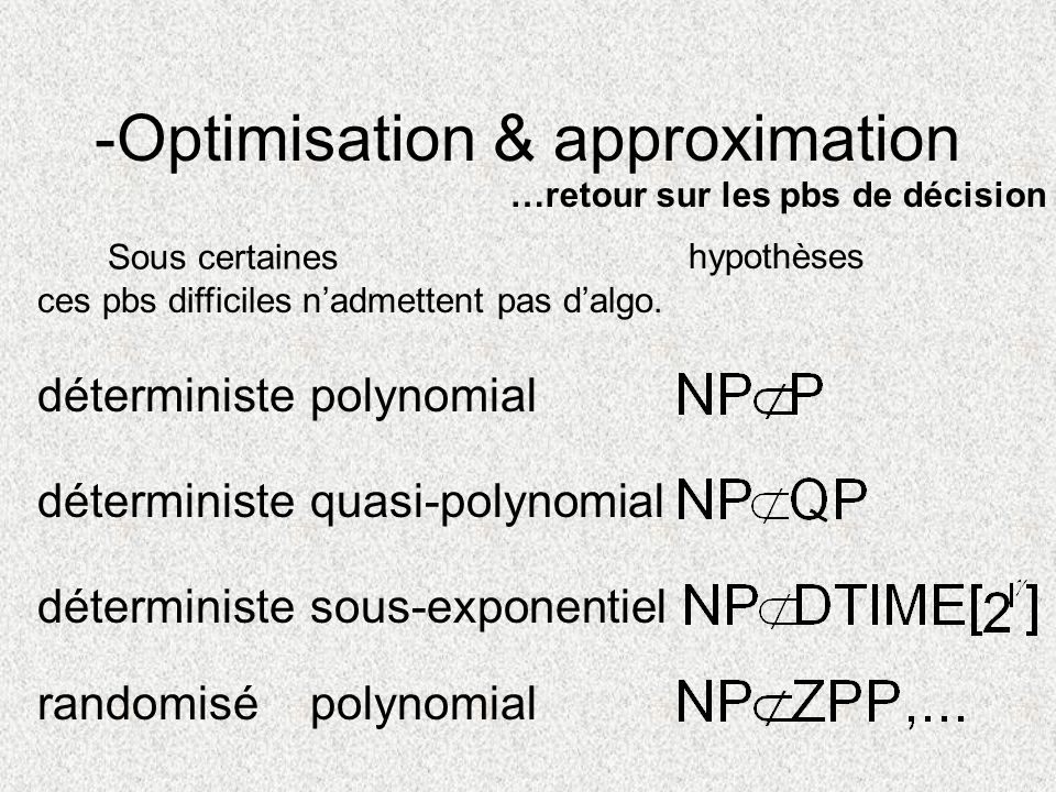 -Optimisation & approximation