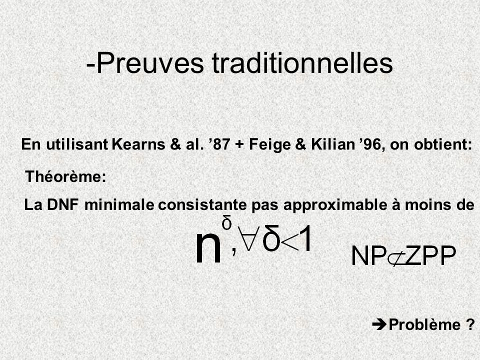 -Preuves traditionnelles