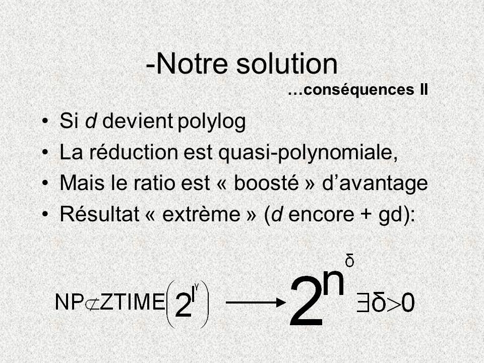 -Notre solution Si d devient polylog