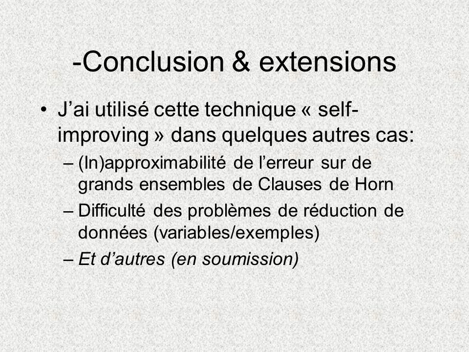 -Conclusion & extensions