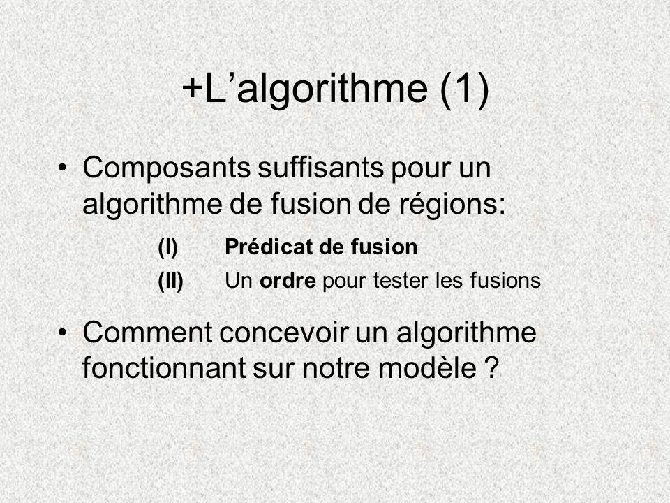 +L'algorithme (1) Composants suffisants pour un algorithme de fusion de régions: Comment concevoir un algorithme fonctionnant sur notre modèle