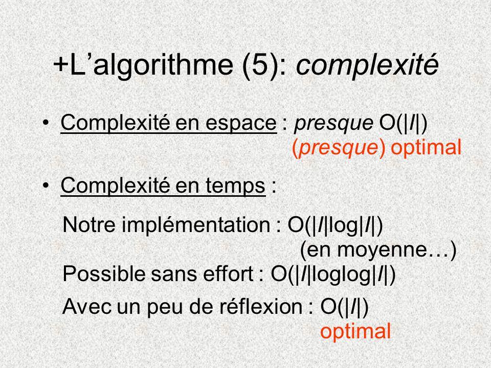 +L'algorithme (5): complexité