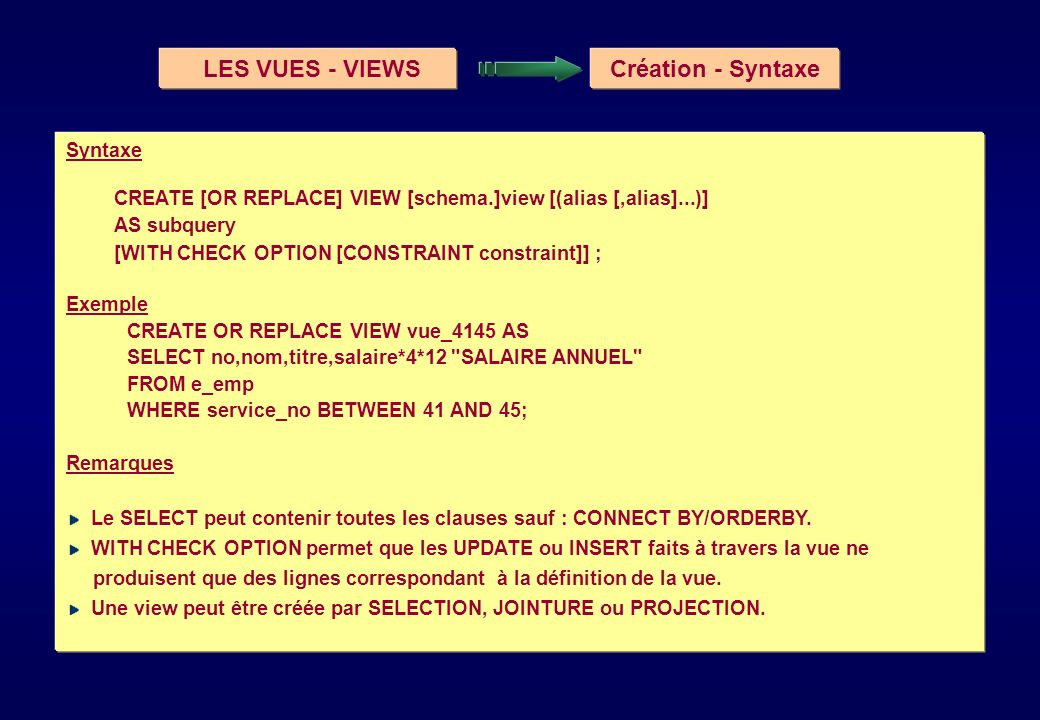 LES VUES - VIEWS Création - Syntaxe