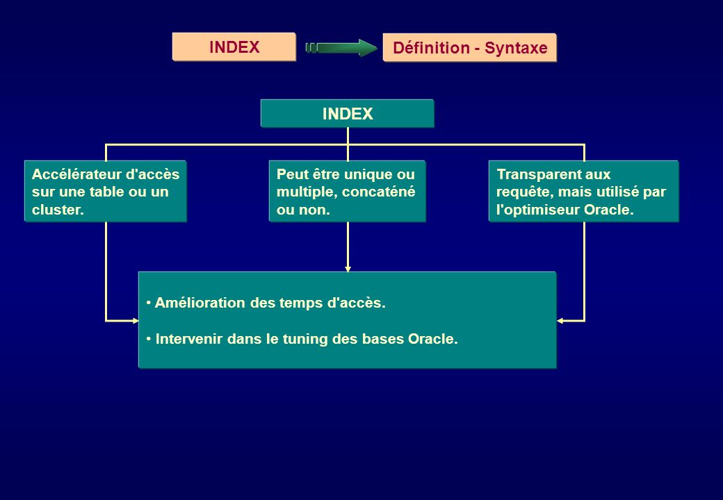 INDEX Définition - Syntaxe INDEX