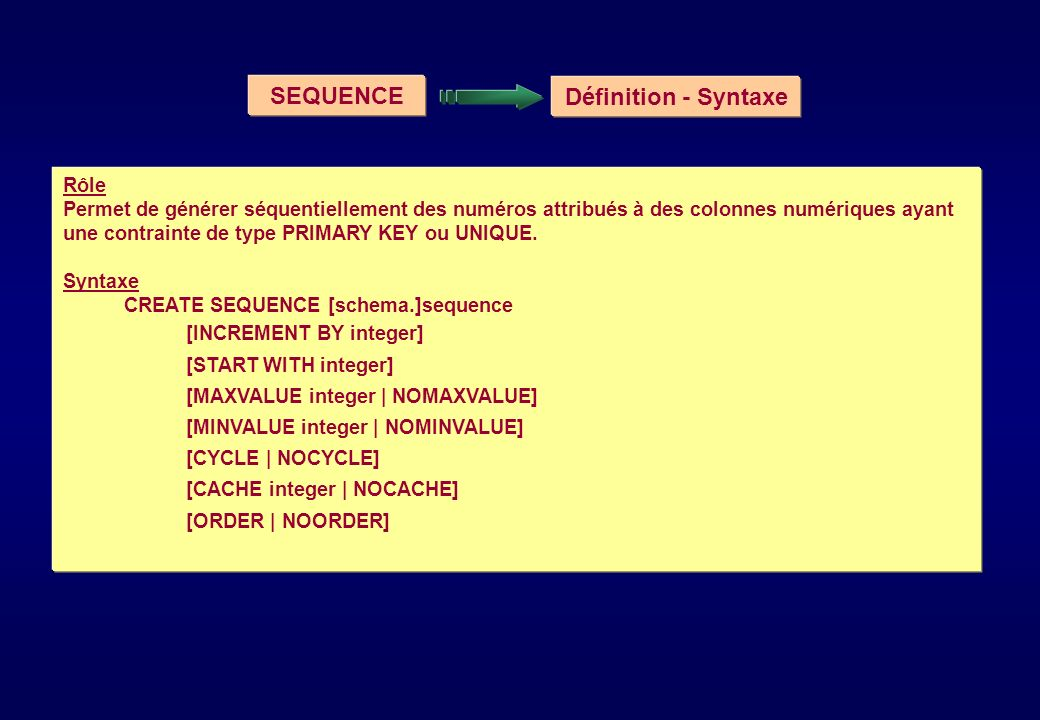 SEQUENCE Définition - Syntaxe