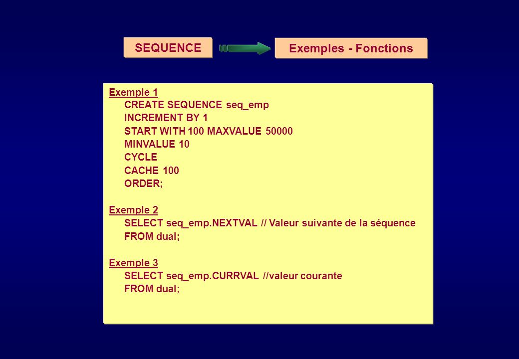 SEQUENCE Exemples - Fonctions