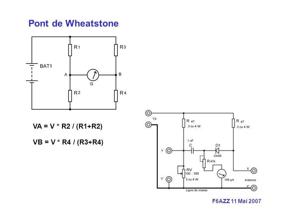 Pont de Wheatstone VA = V * R2 / (R1+R2) VB = V * R4 / (R3+R4)