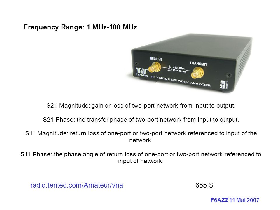 S21 Magnitude: gain or loss of two-port network from input to output.