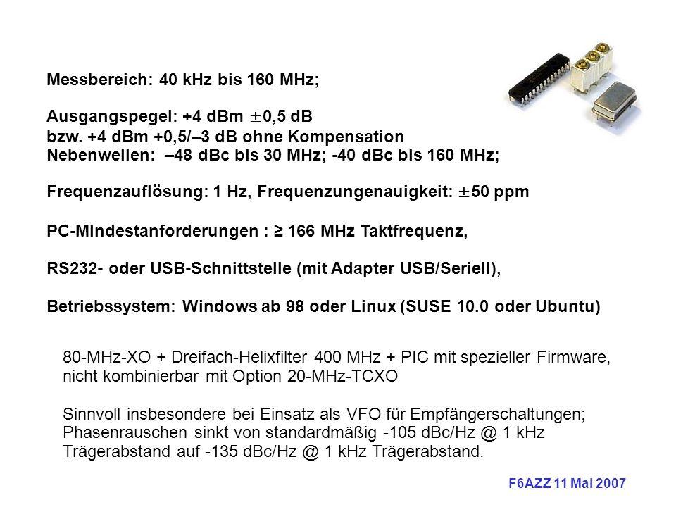 Messbereich: 40 kHz bis 160 MHz;