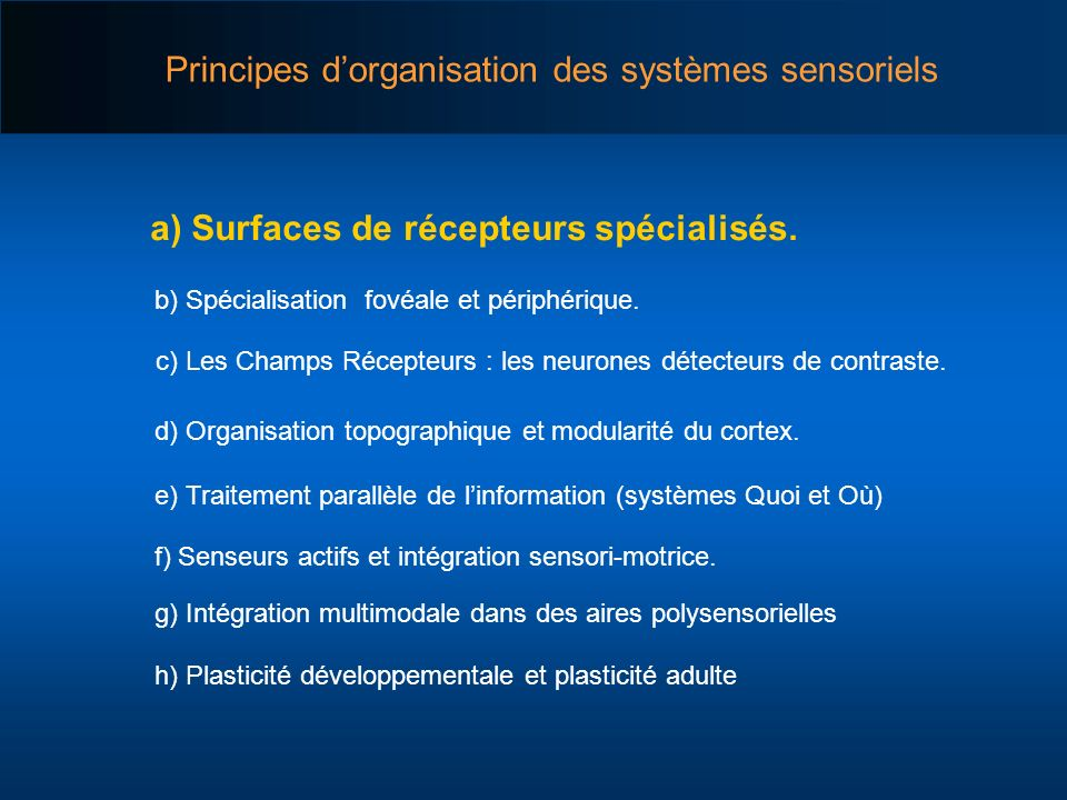 a) Surfaces de récepteurs spécialisés.