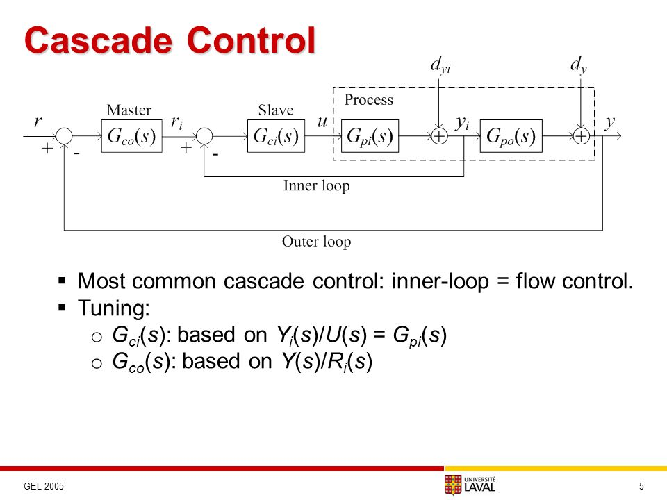 Cascade Control Most common cascade control: inner-loop = flow control. Tuning: Gci(s): based on Yi(s)/U(s) = Gpi(s)