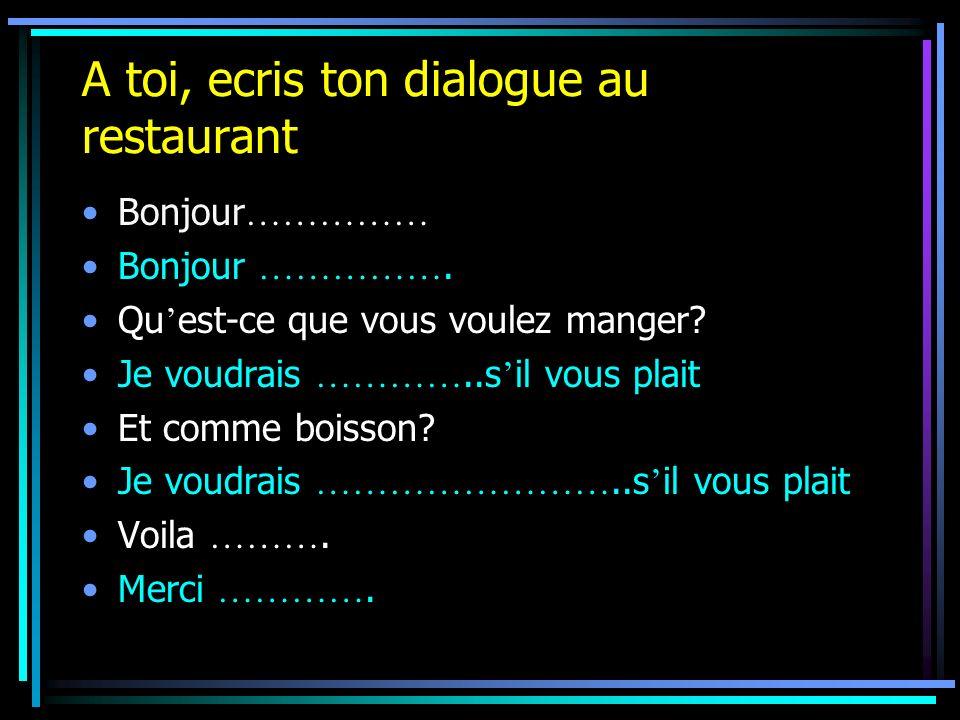 A toi, ecris ton dialogue au restaurant