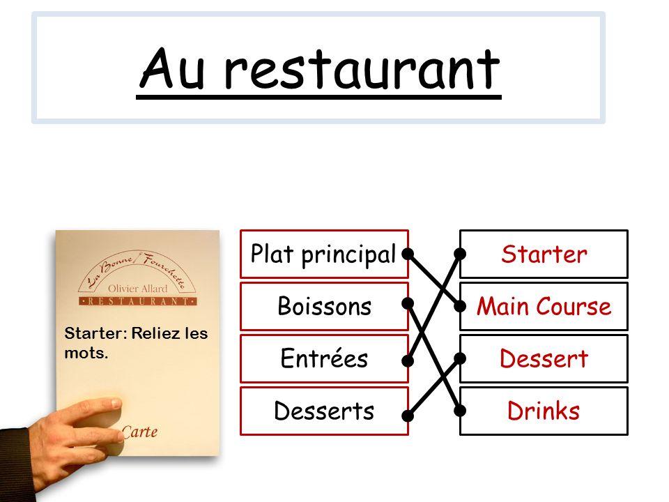 Au restaurant Plat principal Starter Boissons Main Course Entrées