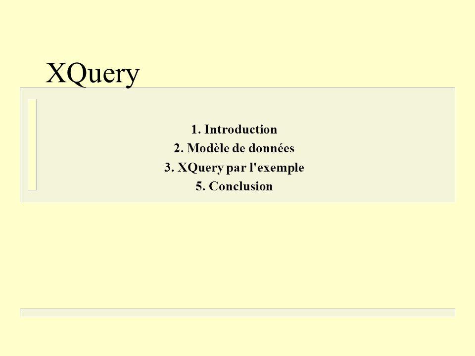 XQuery 1. Introduction 2. Modèle de données 3. XQuery par l exemple