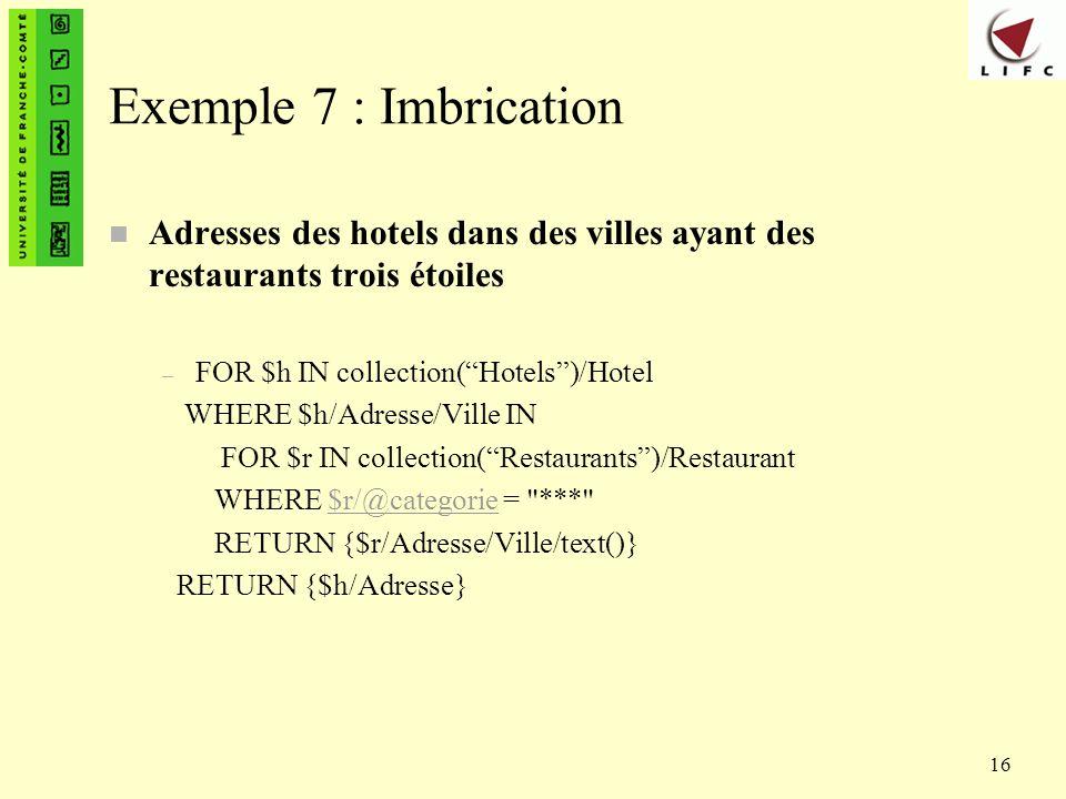 Exemple 7 : Imbrication Adresses des hotels dans des villes ayant des restaurants trois étoiles. FOR $h IN collection( Hotels )/Hotel.
