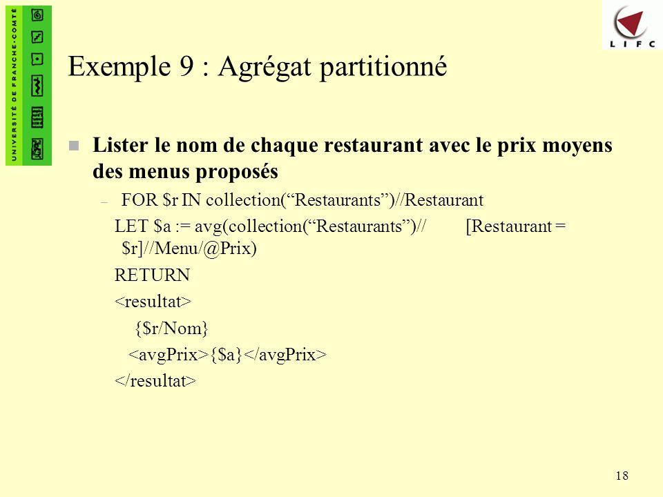 Exemple 9 : Agrégat partitionné