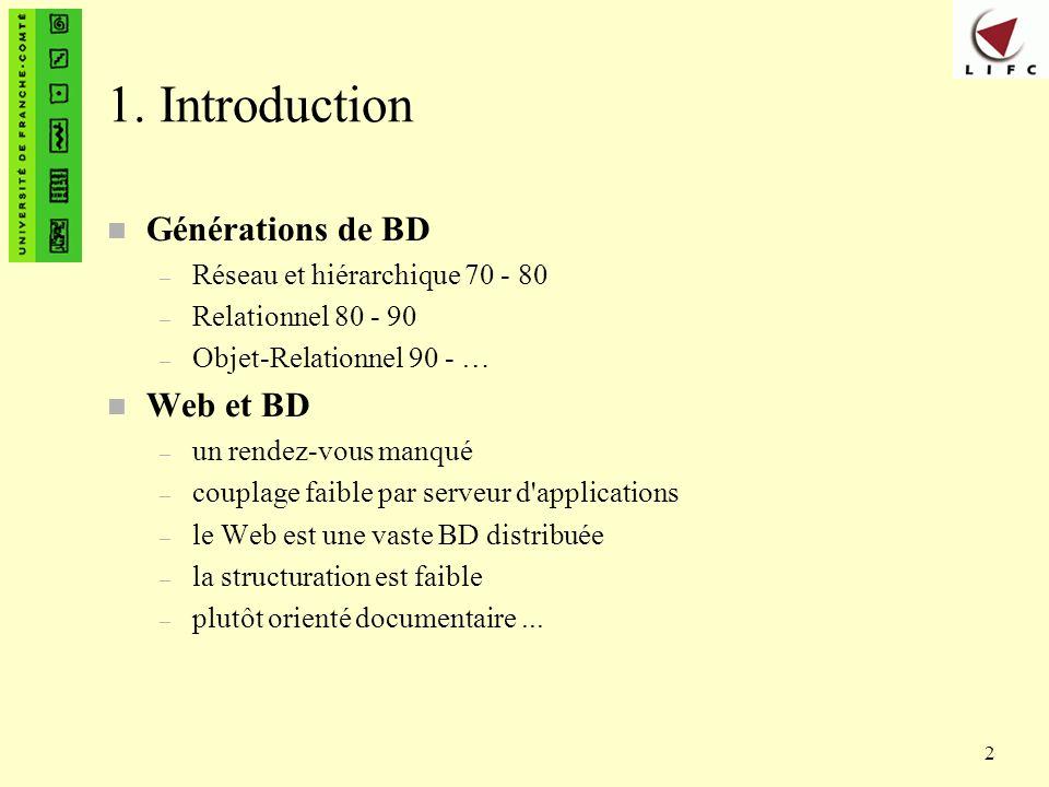 1. Introduction Générations de BD Web et BD