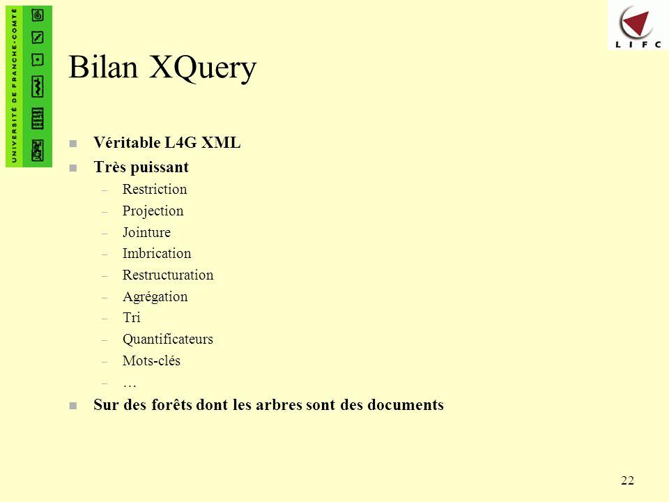 Bilan XQuery Véritable L4G XML Très puissant