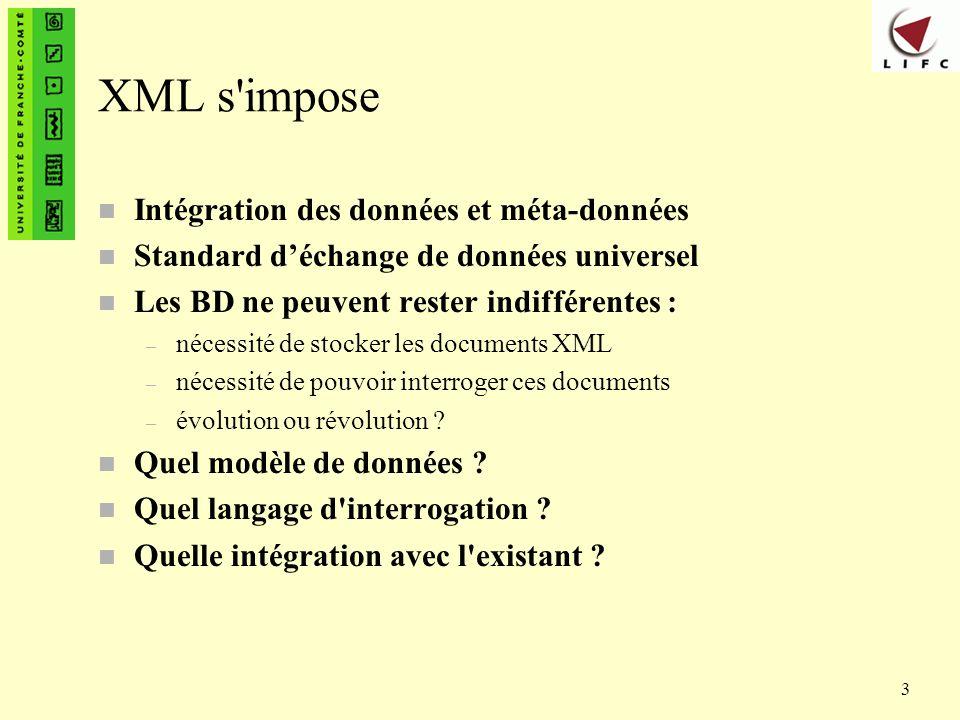 XML s impose Intégration des données et méta-données