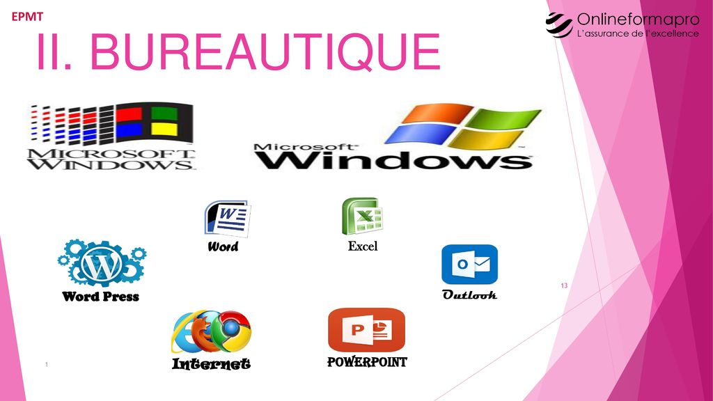 II. BUREAUTIQUE Word Excel Word Press Outlook 1 Internet PowerPoint
