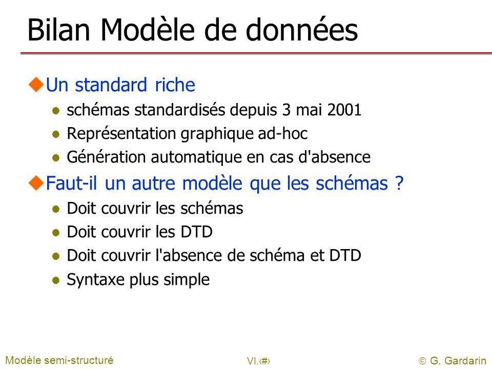 Bilan Modèle de données