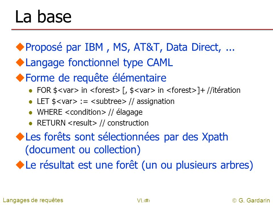 La base Proposé par IBM , MS, AT&T, Data Direct, ...