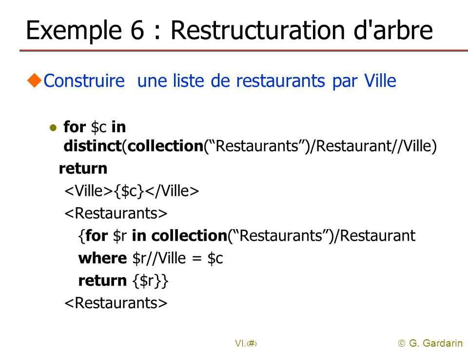 Exemple 6 : Restructuration d arbre
