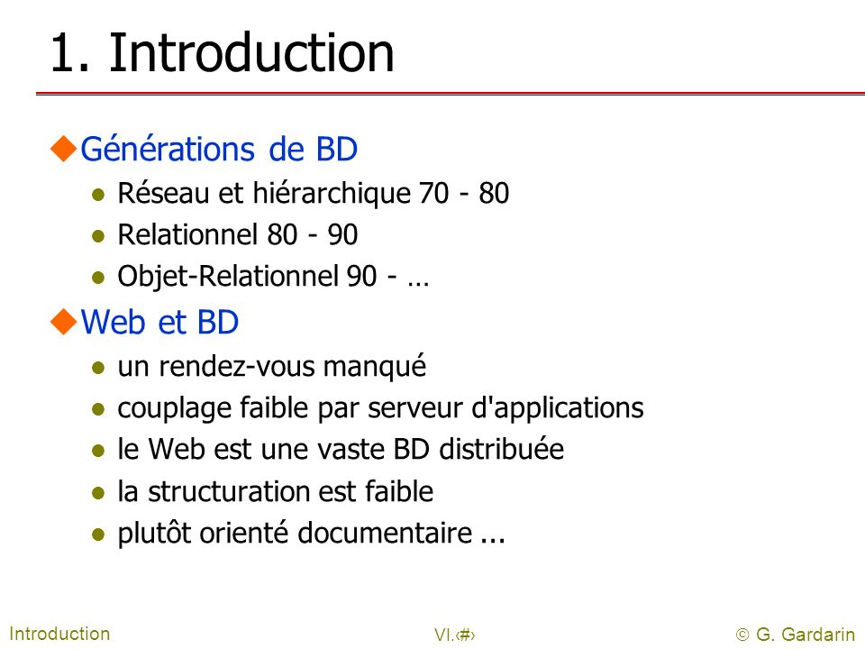 1. Introduction Générations de BD Web et BD