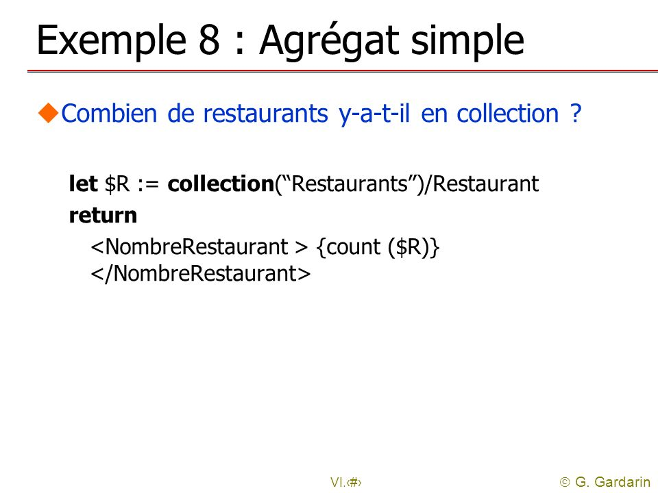 Exemple 8 : Agrégat simple