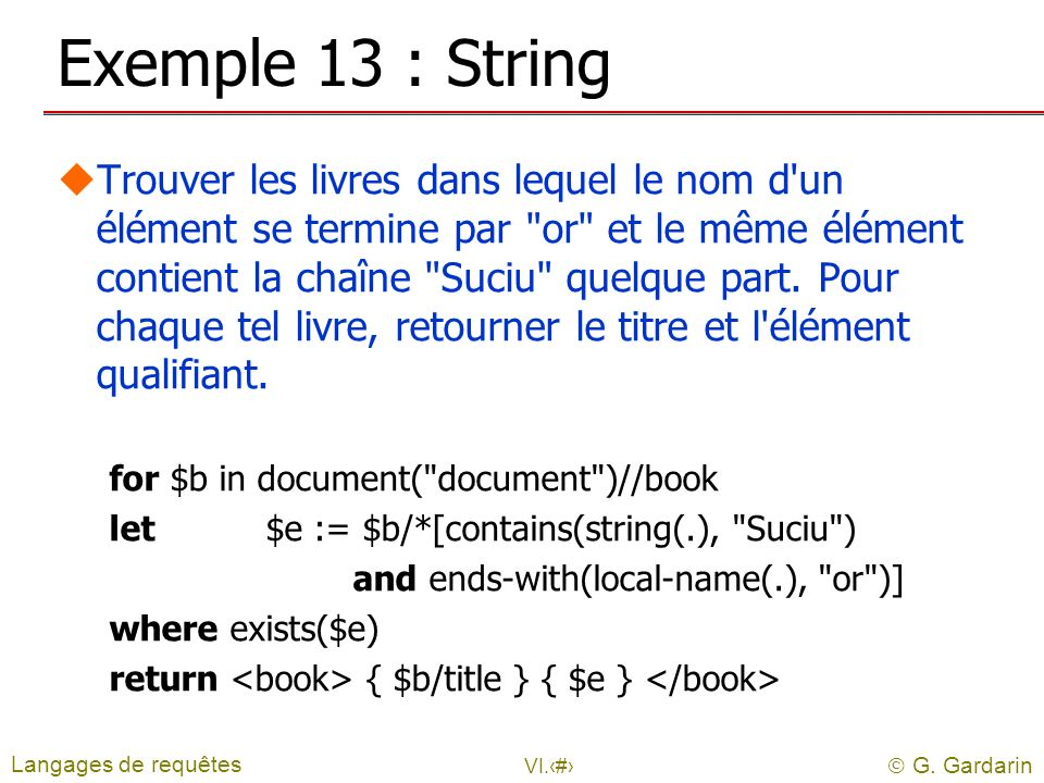 Exemple 13 : String